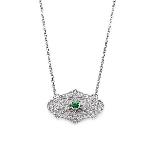 Vintage Style Diamond Center Necklace, 14K White Gold