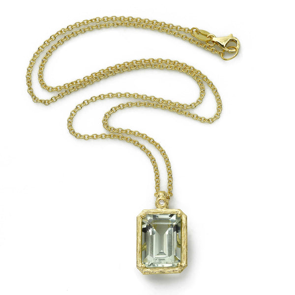 Rectangular Prasiolite Pendant, 14K Yellow Gold