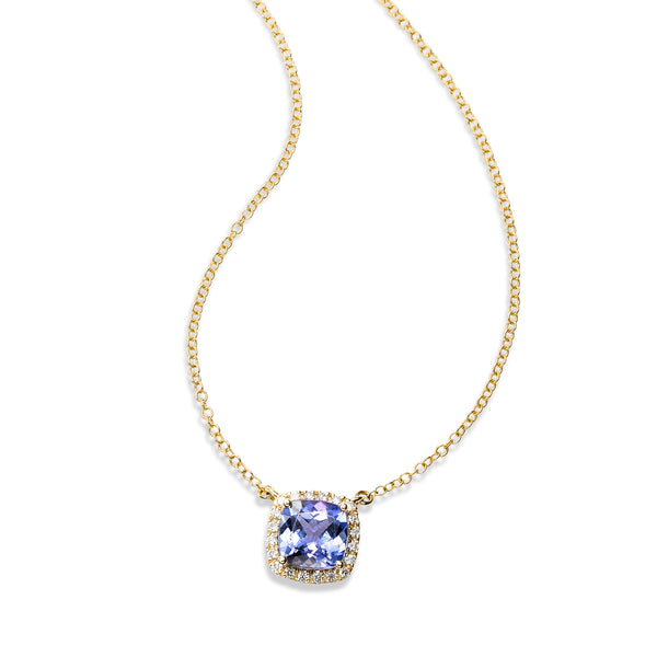 Cushion Cut Tanzanite and Diamond Halo Necklace, 14K Yellow Gold