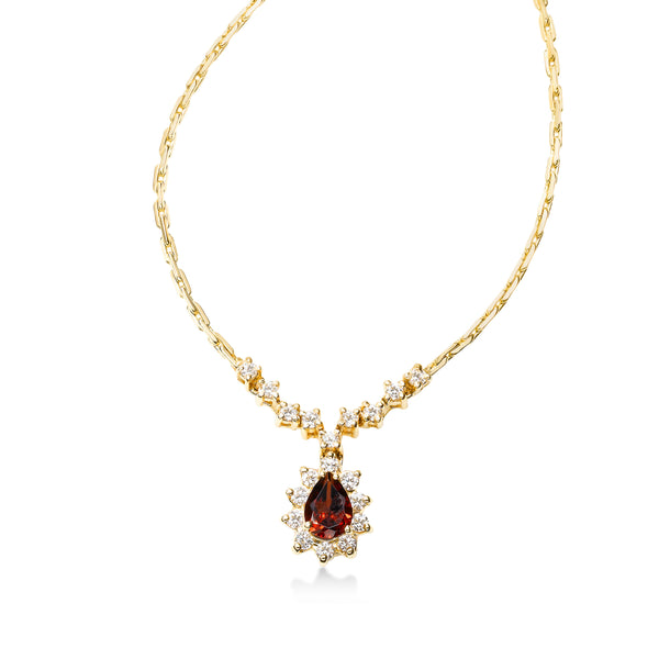 Pear Shape Garnet and Diamond Necklace, 14K Yellow Gold