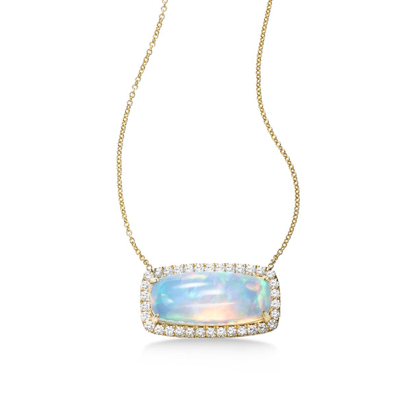 Opal and Diamond Halo Necklace, 14K Yellow Gold