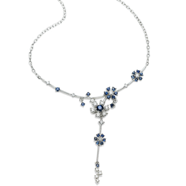 Blue Sapphire and Diamond Floral Necklace, 14K White Gold