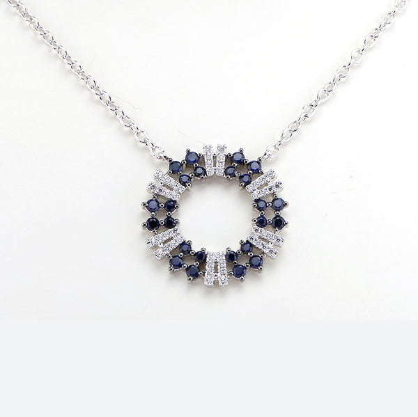 Blue Sapphire and Diamond Circle Necklace, 14K White Gold