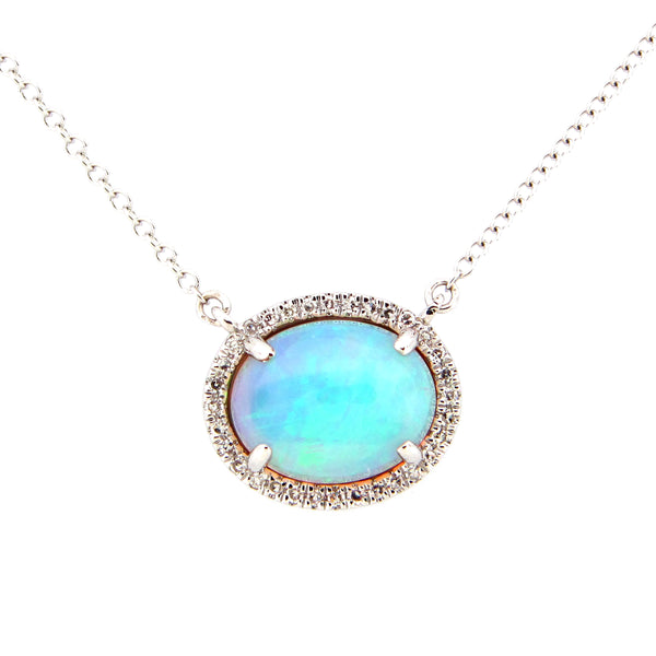 Ethiopian Opal and Diamond Halo Necklace, 14K White Gold