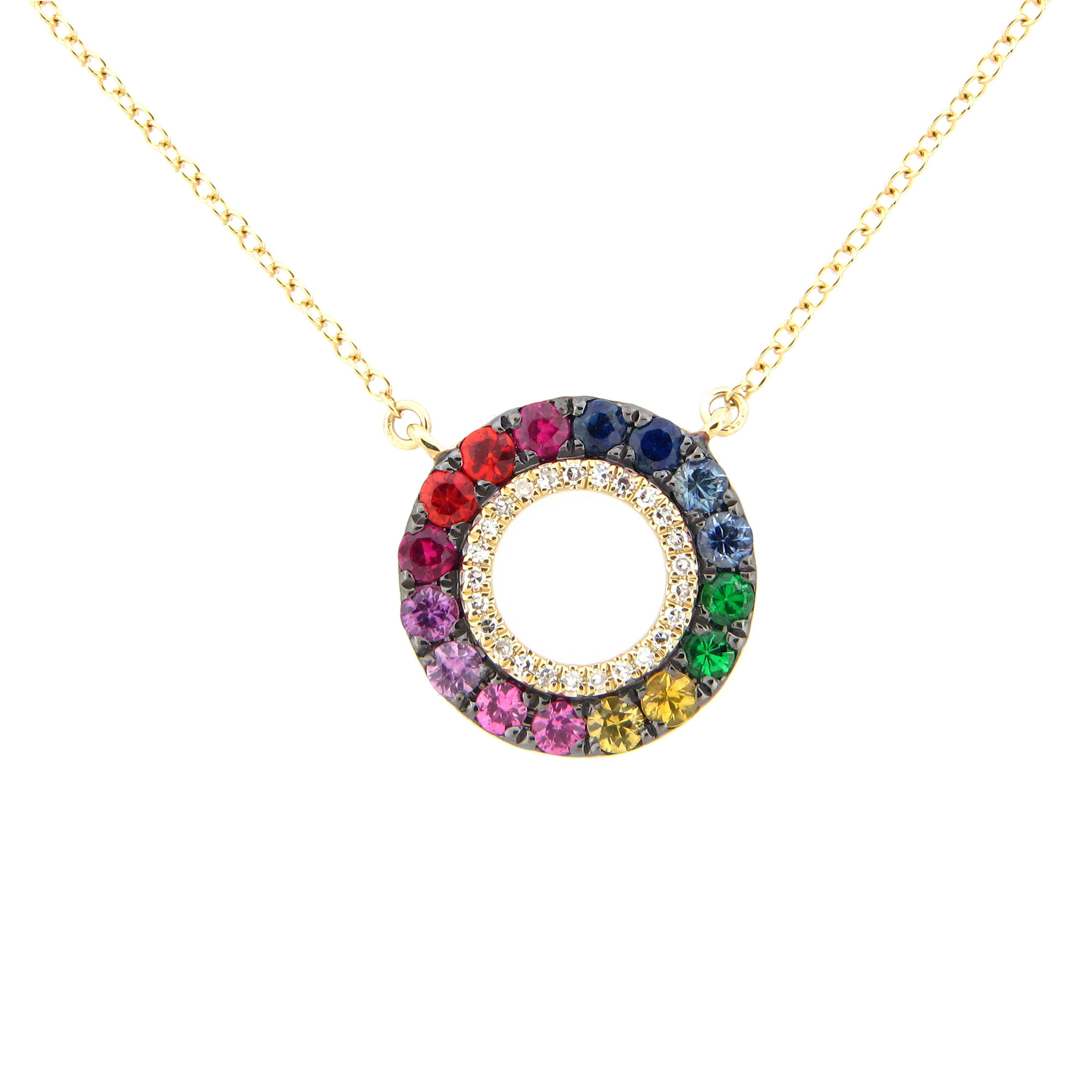 Rainbow Gemstone and Diamond Necklace, 14K Yellow Gold