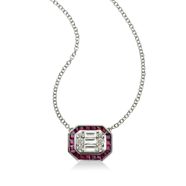 Deco Style Ruby and Diamond Pendant, 18K White Gold