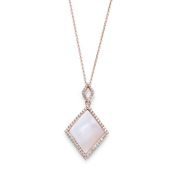 Dyed Pink Mother of Pearl and Diamond Pendant, 14K Rose Gold