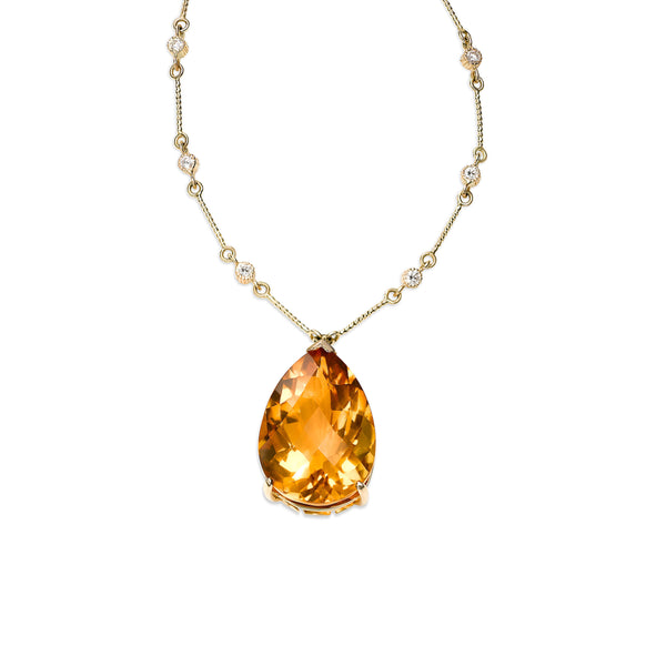Large Citrine Pendant with Diamonds, 14K Yellow Gold