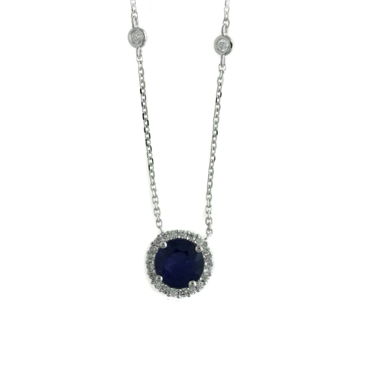 Round Sapphire and Diamond Halo Necklace, 14K White Gold