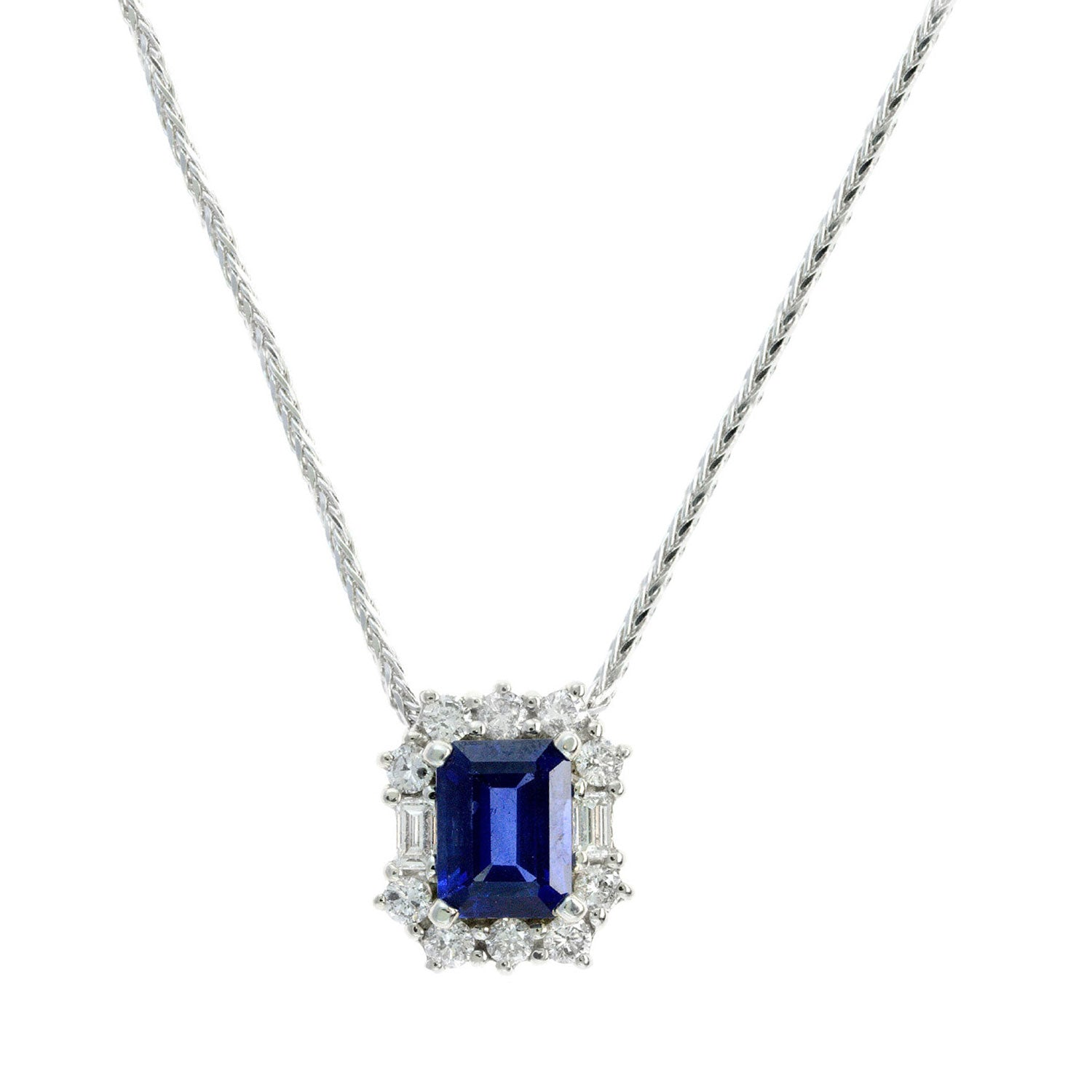 Rectangular Sapphire and Diamond Halo Necklace, 14K White Gold