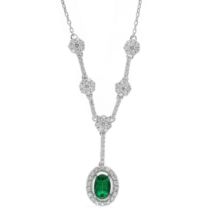 Oval Emerald and Diamond Cluster Necklace, 14K White Gold