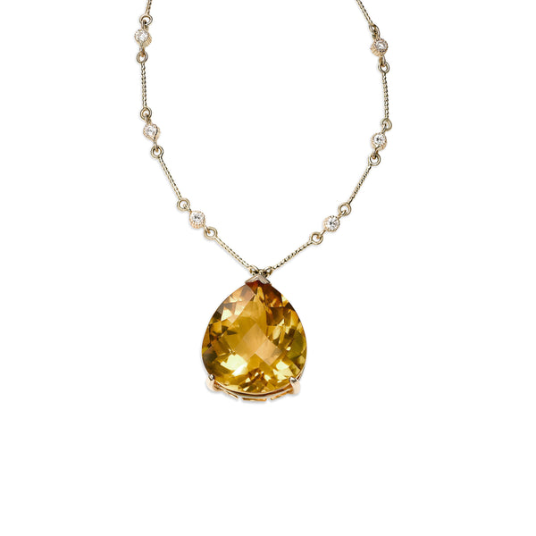 Large Pear Shape Citrine Pendant with Diamonds, 14K Yellow Gold