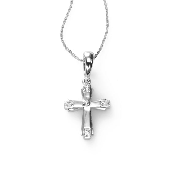 Child's Diamond Cross Pendant, 14K White Gold