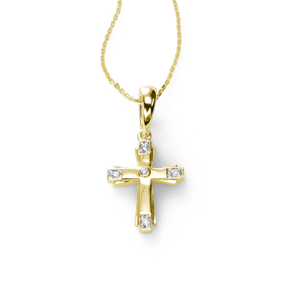 Child's Diamond Cross Pendant, 14K Yellow Gold