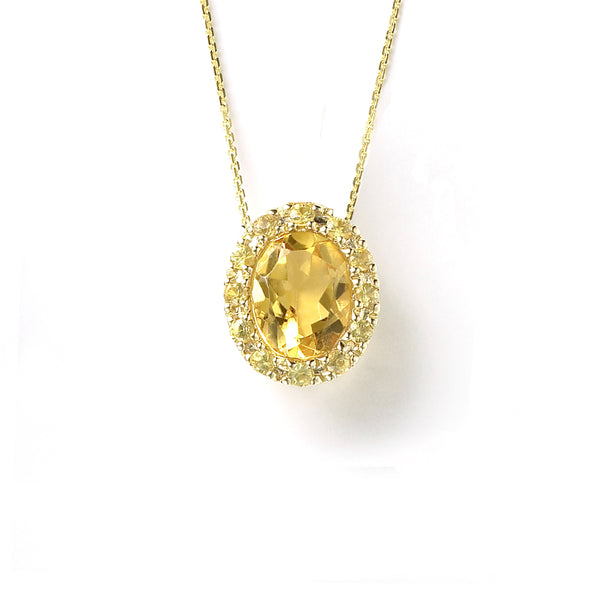 Oval Yellow Sapphire and Citrine Pendant, 14K Yellow Gold