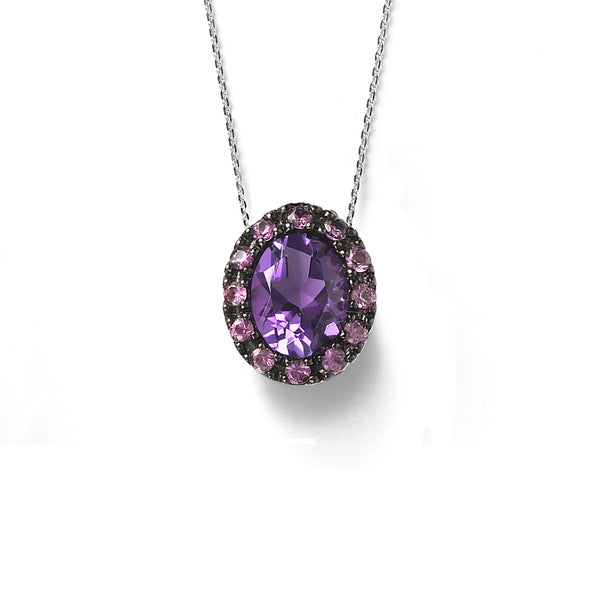 Oval Amethyst and Pink Sapphire Pendant, Black Rhodium, 14K White Gold