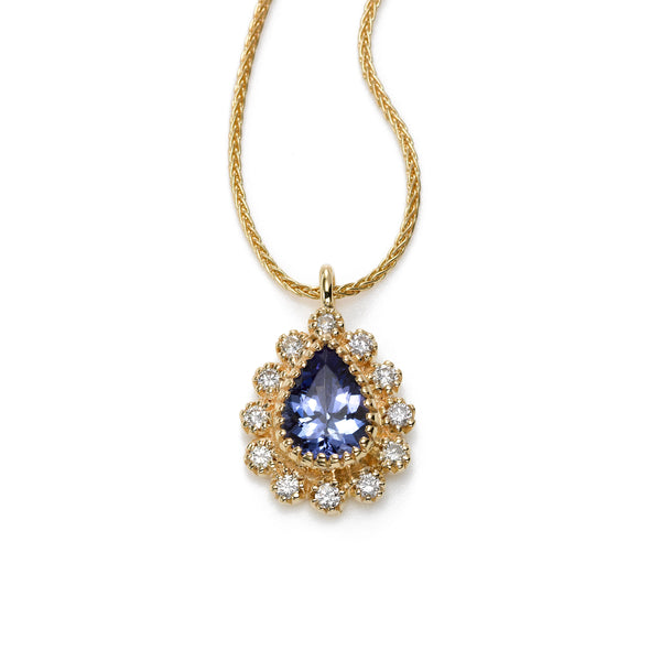 Pear Shape Tanzanite and Diamond Pendant, 14K Yellow Gold