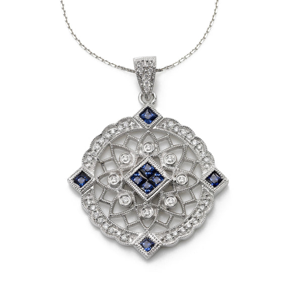 Sapphire and Diamond Pendant, 14 Karat White Gold