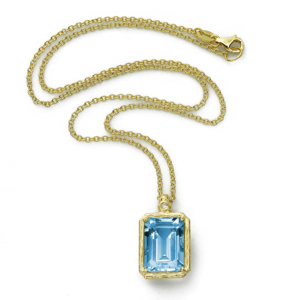 Rectangular Blue Topaz Pendant, 14K Yellow Gold