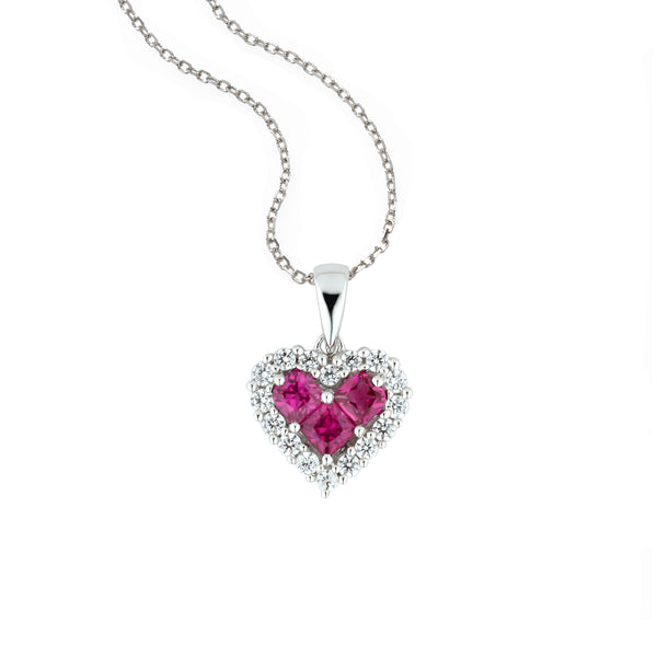 Ruby and Diamond Halo Heart Pendant, 14K White Gold