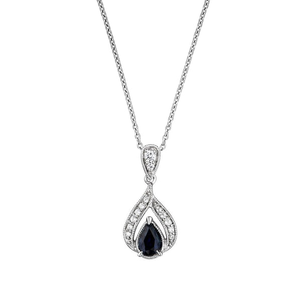 Pear-Shaped Blue Sapphire and Diamond Drop Pendant, 14K White Gold