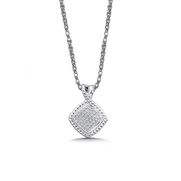 Square Pavé Set Diamond Pendant, Sterling Silver