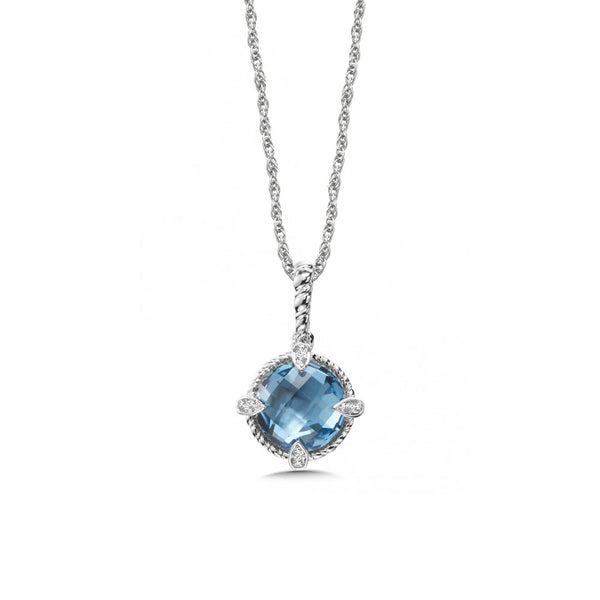 Round Blue Topaz and Diamond Pendant, Sterling Silver