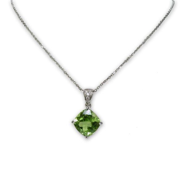Cushion Cut Peridot Pendant, 14K White Gold