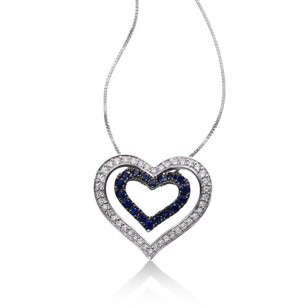 Diamond and Sapphire Nested Heart Pendant, 14K White Gold