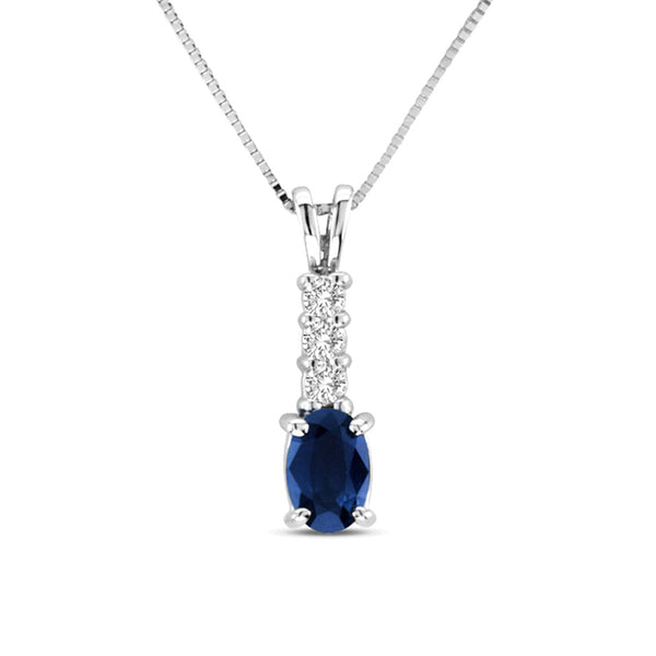 Blue Sapphire and Diamond Drop Pendant, 14K White Gold
