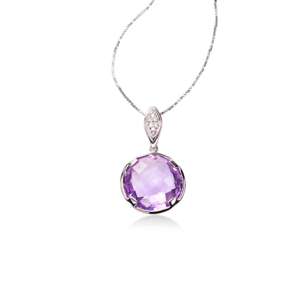 Bezel Set Faceted Amethyst Pendant, 14K White Gold