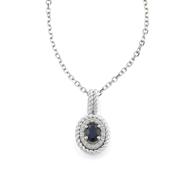 Oval Blue Sapphire and Diamond Halo Pendant, 14K White Gold