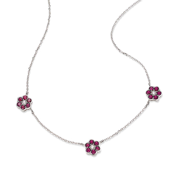 Ruby and Diamond Flower Necklace, 14K White Gold