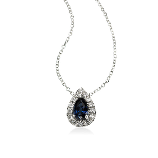 Pear Shape Sapphire and Diamond Pendant, 14K White Gold