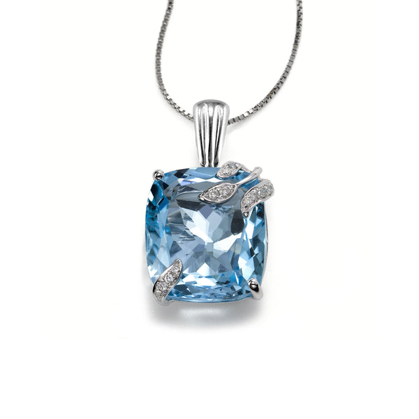 Leaf Design Blue Topaz and Diamond Pendant, 14K White Gold