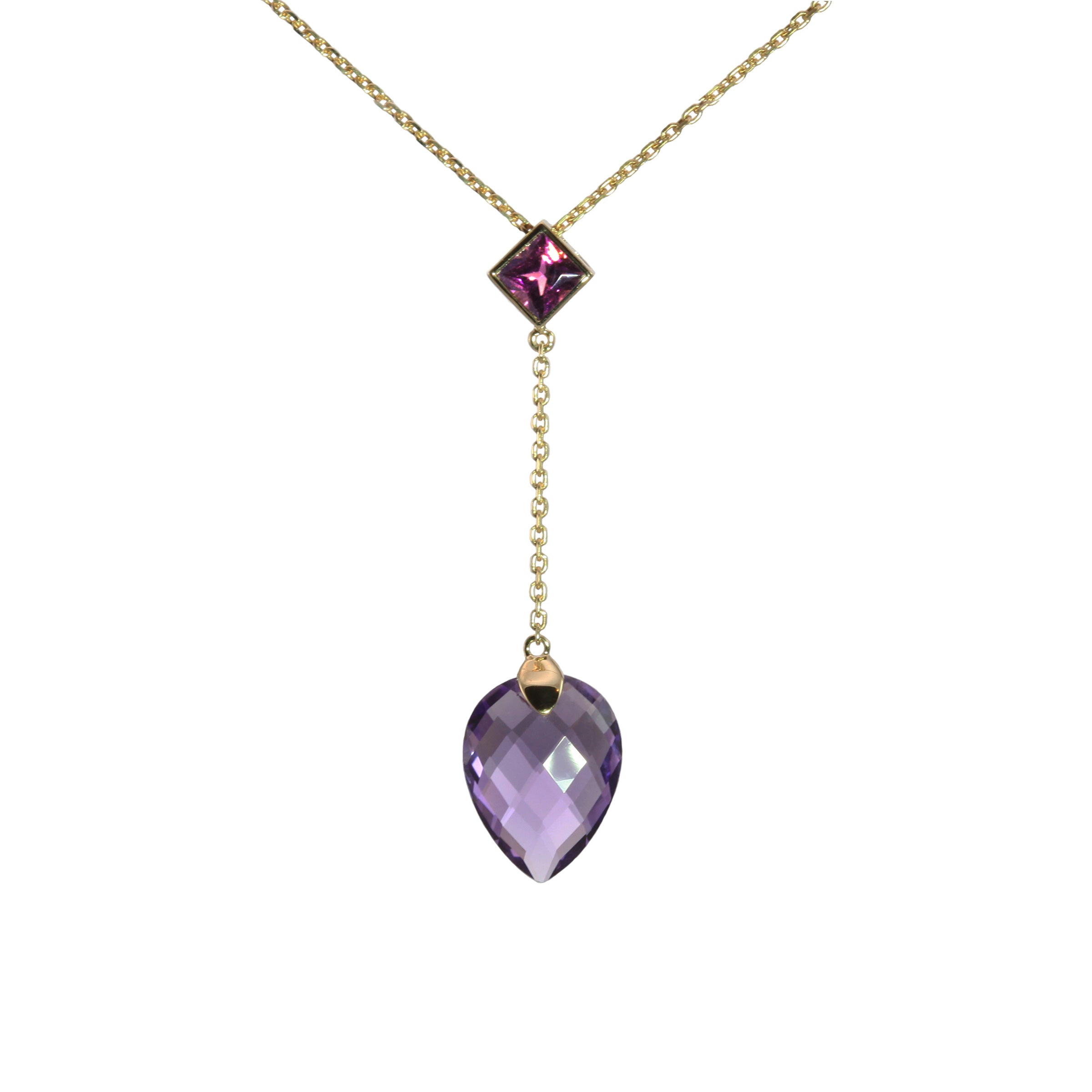Pear Shape Amethyst Drop Pendant with Rhodolite Accent, 14K Yellow Gold