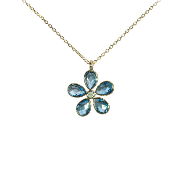Flower Shaped Swiss Blue Topaz Pendant, 14K Yellow Gold