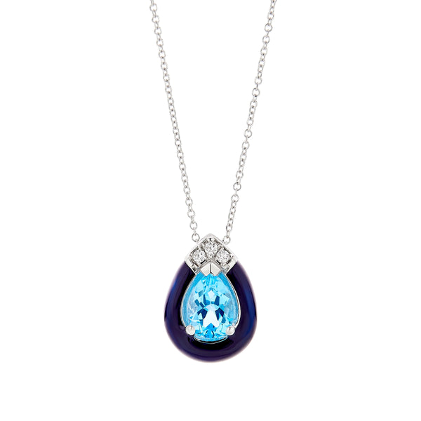 Blue Topaz with Black Enamel Frame Pendant, 18K White Gold