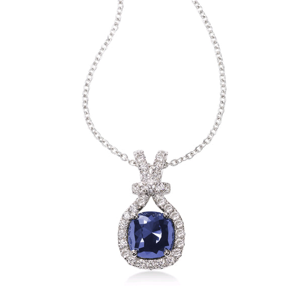 Cushion Shape Tanzanite and Diamond Pendant, 14K White Gold