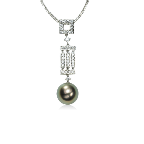 Deco Style Tahitian Cultured Pearl and Diamond Pendant, 18K White Gold