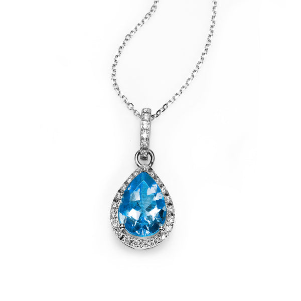 Pear Shape Blue Topaz and Diamond Halo Pendant, 14K White Gold