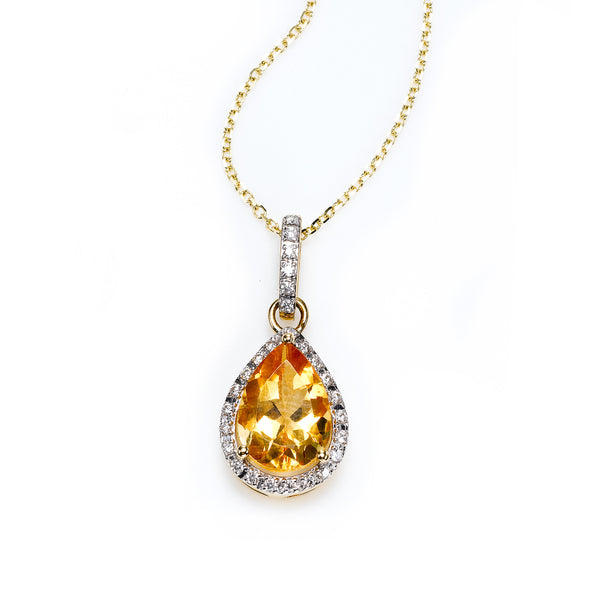 Pear Shape Citrine and Diamond Halo Pendant, 14K Yellow Gold