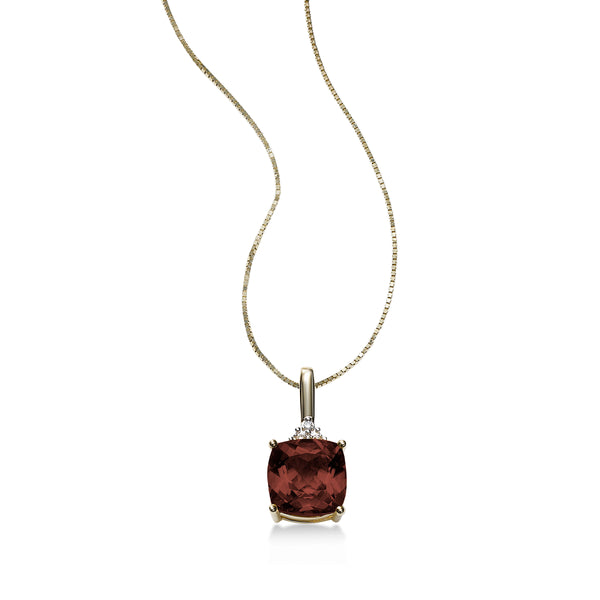 Cushion Cut Garnet Pendant, 14K Yellow Gold