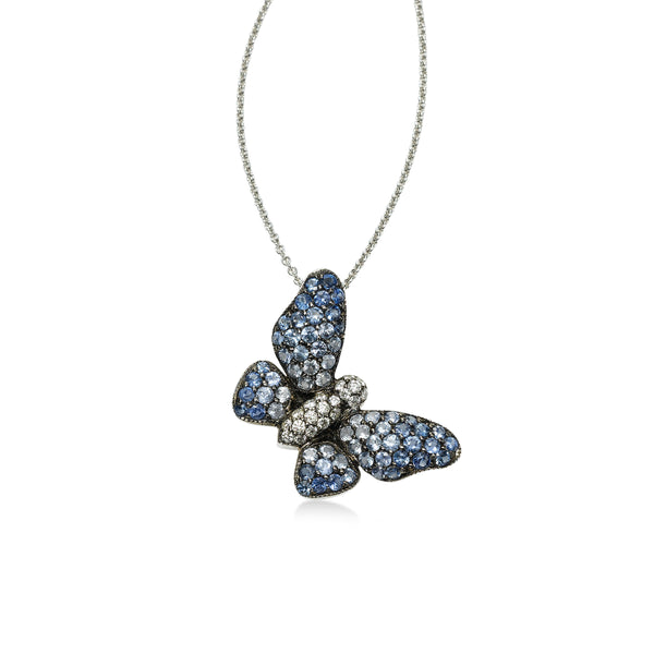 Blue Sapphire and Diamond Butterfly Pendant, 18K White Gold