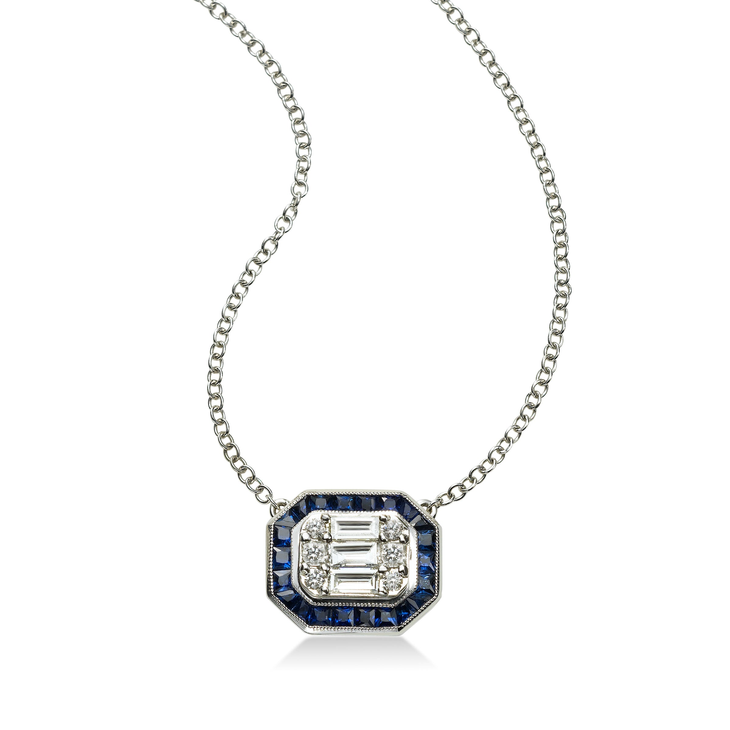 Deco Style Blue Sapphire and Diamond Pendant, 18K White Gold