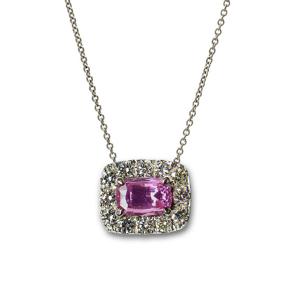 Pink Sapphire and Diamond Necklace, 18K White Gold