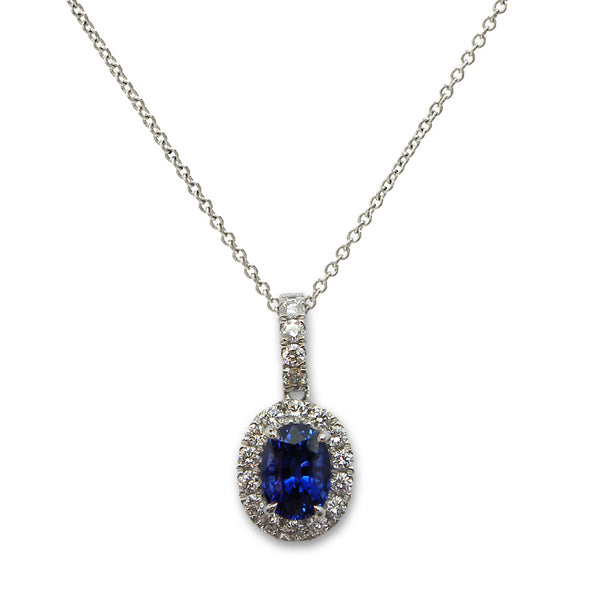 Oval Blue Sapphire and Diamond Halo Pendant, 18K White Gold