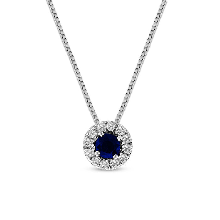 Round Sapphire and Diamond Halo Pendant, 14K White Gold