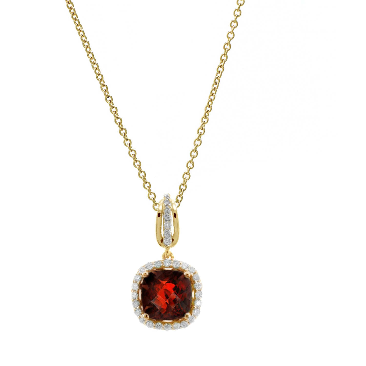 Cushion Shape Garnet and Diamond Halo Pendant, 14K Yellow Gold