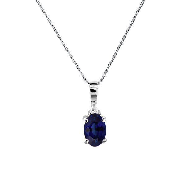 Oval Sapphire Pendant with Diamond Accent, 14K White Gold